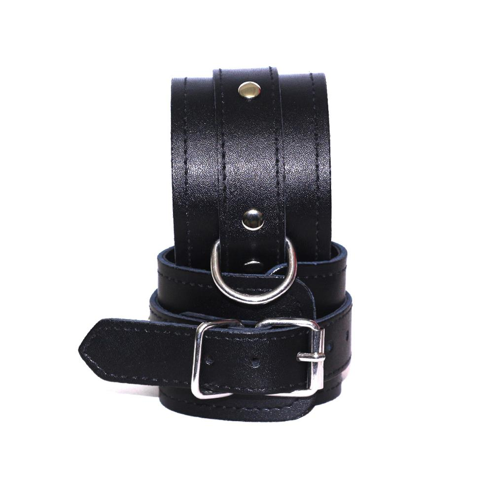 Bdsm Bondage Adjustable Restraints Black Leather Handcuff Ankle Cuff Erotic Adult Cosplay Adult Games Sex Toys For Woman Couples in Adult Games from Beauty Health