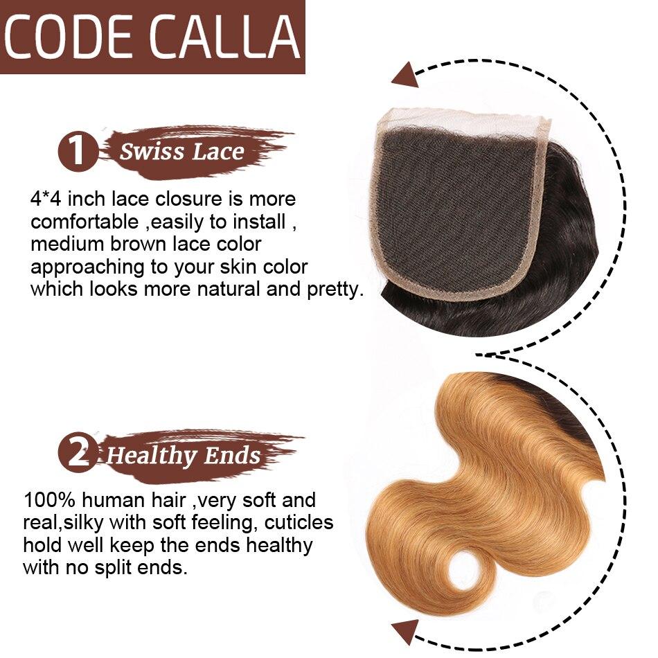 Код Calla Ombre цвет тела волна Связки с 4*4 Кружева Закрытие Необработанные бразильские необработанные девственные человеческие волосы Weft расширение - 6