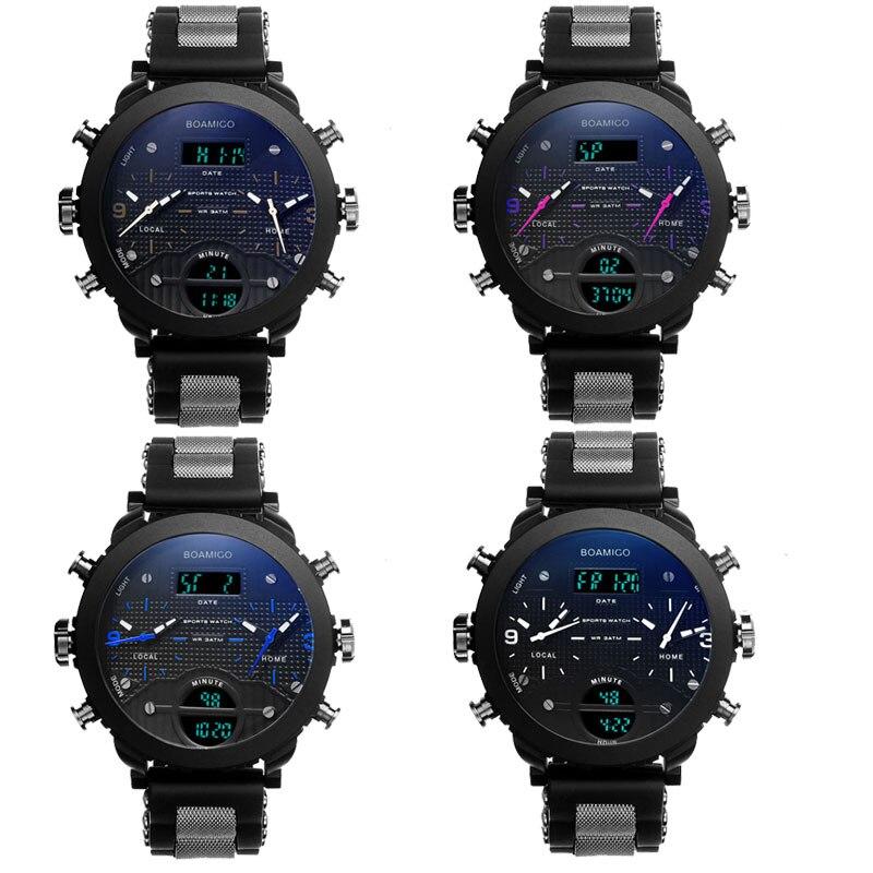 men watches BOAMIGO brand 3 time zone military sports watches male LED digital quartz wristwatches gift box relogio masculino 5