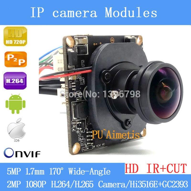 H.264/H.265 Module de caméra IP Hi3516E + GC2393 2MP 1080P grand Angle Fisheye caméra panoramique caméra de Surveillance infrarouge 1.7mm