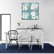 Маленькие белые цветы настенная живопись 4 панели холст домашний