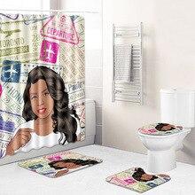 4Pcs/Set Carpet Bathroom Foot Pad African Woman Bath Mat and Shower Curtain Set PVC Toilet Seat Covers Home Decor 2 sizes
