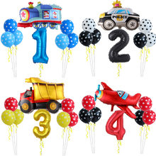 Cartoon Car Ballons Truck Train Aircraft Foil Balloon Children 1 2 3th Number Gifts Birthday Party Decorations Kids Toy Balloons
