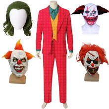 Фильм Джокер Косплей Хоакин Феникс клоун Одежда Артура Флек костюм красный костюм Хэллоуин жакет Джокера Униформа с маской парик