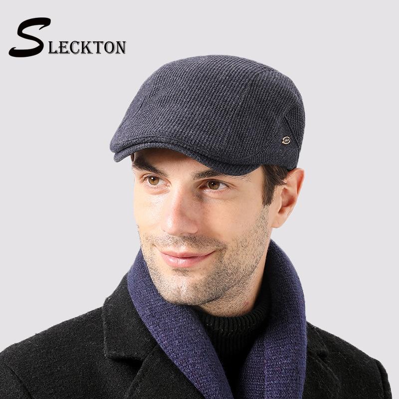 SLECKTON-sombreros de invierno para hombre, Boina de alta calidad, sombrero de Newsboy a la moda, de terciopelo para mantener el calor, gorra plana francesa, 2020