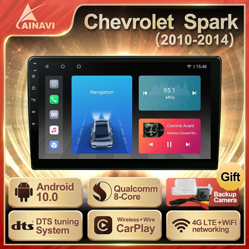 Автомобильный радиоприемник Android 10 QLED экран для Chevrolet Spark 2010-2014 авто стерео Мультимедийный Плеер навигация Carplay GPS DTS NO 2din