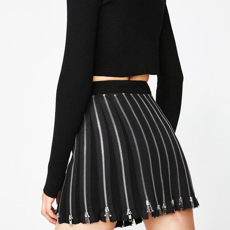 Fitshinling Zipper Gothic Short Skirt Female Harajuku Grunge Rock Slim High Waist Skirts Women Clothing Fashion Black Saias Sale in Skirts from Women 39 s Clothing