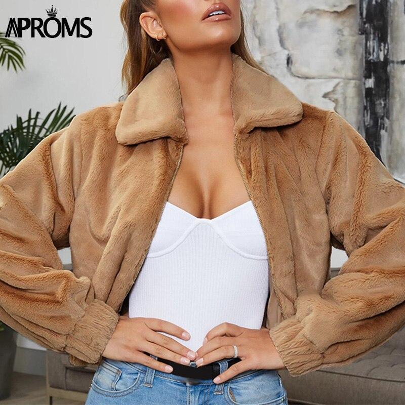 Aproms Winter Faux Fur Warm   Jacket   Women Casual Zipper Pocket Soft Outwear Coat Streetwear Long Sleeve Ladies   Basic     Jackets   2019
