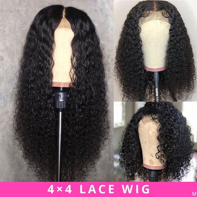 $ US $46.74 Brazilian Wig 4x4 Lace Closure Wig Kinky Curly Human Hair Wig Preplucked Human Hair Wigs for Black Women Non-Remy Jazz Star Hair