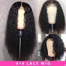 Peluca brasileña 4x4 Peluca de cierre de encaje peluca rizada Peluca de cabello humano preplumado pelucas para mujeres negras cabello no Remy Jazz Star
