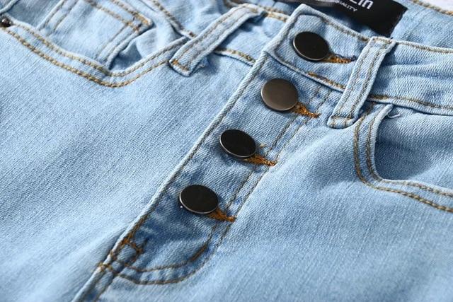 Four Buttons High Waist Pencil Jeans  5