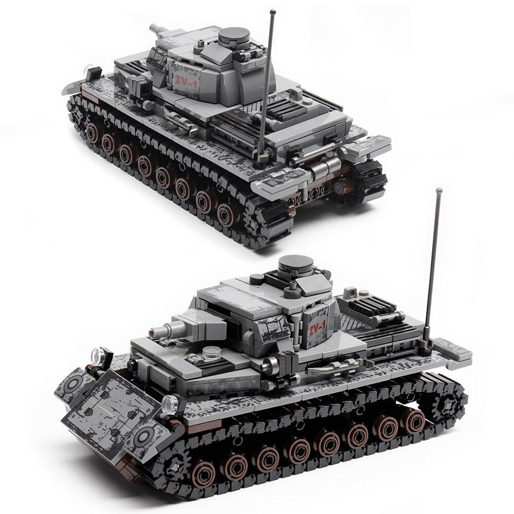 Городской немецкий танк IV модель бронированный танк автомат пистолет строительные блоки Военная Вторая мировая война армия солдат Bicks игру...