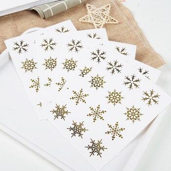 1200pcs/Lot Bronzing transparent Snowflake Seal Sticker Scrapbooking Cards Envelope Box Packing Label Christmas Sealing Stickers