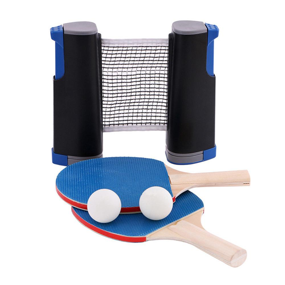 Sports Portable Table Tennis Set Ping Pong Set With Retractable Net For Indoor Outdoor Gym Play Training Fitness Workout