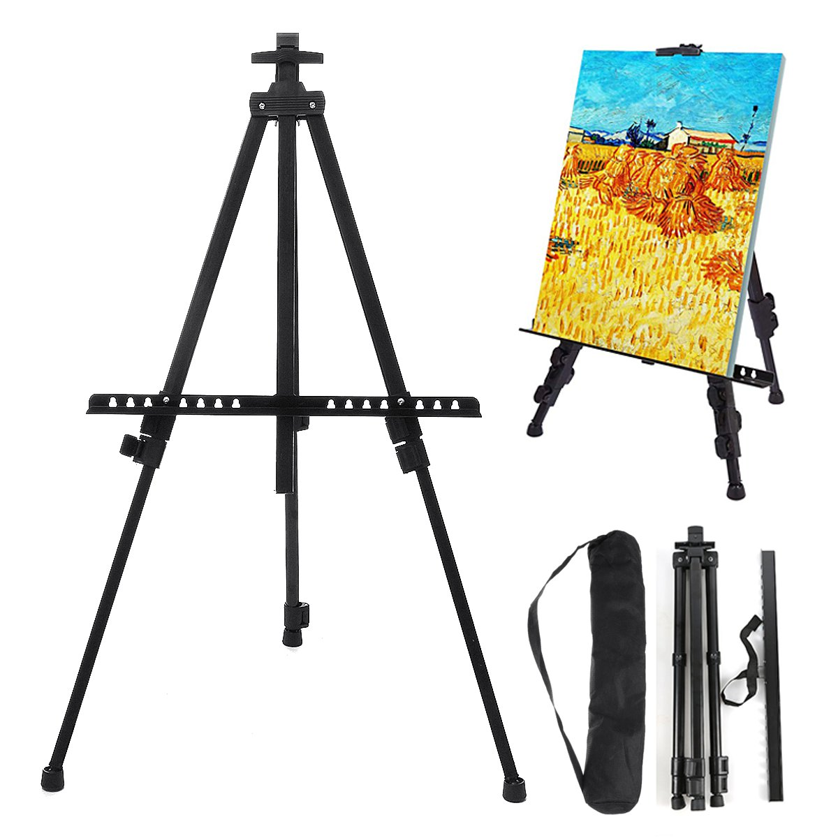 Adjustable Iron Painting Display Artist Easel Tripod Stand Folding Portable Sketching Rack Painting Tools Supplies Organizer