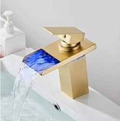 LED Faucet Black Oil Brushed Basin Faucet Sink Mixer Bathroom Faucet Hot and Cold Brass  Water Faucet Lavotory Mixer Crane Mixer