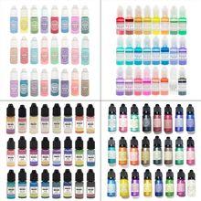 24個10ミリリットルクリスタルエポキシ樹脂顔料uv樹脂着色染料手作りdiyのジュエリーメイキングアート工芸品液体着色剤ドロップシップ