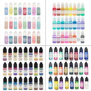 Image 1 - 24 Pcs 10ML Pha Lê Nhựa Dính Sắc Tố Nhựa Chống UV Tô Màu Nhuộm Thủ Công Tự Làm Trang Sức Làm Nghệ Thuật Thủ Công Chất Lỏng Chất Tạo Màu trang Sức Giọt