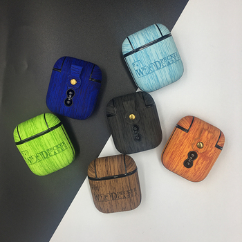 Vintage Wood For Airpods Case Protective Earphone Cover For Apple Airpod 1 2 Wireless Bluetooth Case Leather PU Hard Shell image