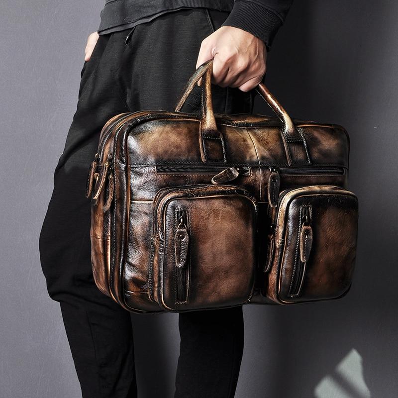 Hda9fe565daf74a69a5855ddc2e4bedd3I Men Oil Waxy Leather Antique Design Business Travel Briefcase Laptop Bag Fashion Attache Messenger Bag Tote Portfolio Male k1013