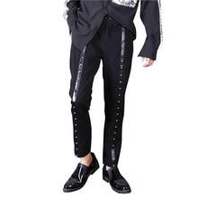 Men Streetwear Hip Hop Punk Gothic Casual Suit Pants Male Fashion Rivet Harem Trousers Night Club Singer Stage Clothing