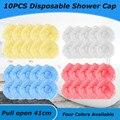 Одноразовые шапочки для душа 100 шт./лот, пластиковые водонепроницаемые толстые прозрачные одноразовые шапочки для спа-салонов, отелей, для к...
