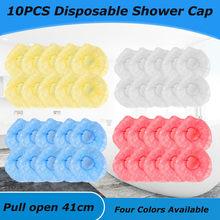100 pçs/lote tampas de chuveiro descartáveis plástico à prova dthick água grosso claro spa cabeleireiro hotel um-fora banho elástico chuveiro chapéu bathroo
