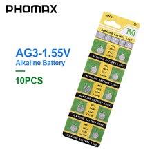 PHOMAX 10 개/갑 장난감 계산기 배터리 버튼 배터리 LR41 CX41 384 알카라인 배터리 AG3 SR41 192 392A L736 시계 배터리
