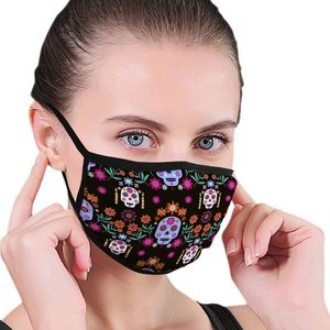 Washable Reusable Mouth Mask for Men Women Mexican Seamless Pattern Sugar Skulls Colorful Flowers Template Skeleton Decoration