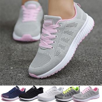 Kobieta buty tenisowe moda Tenis Feminino sznurowane białe buty sportowe damskie trampki lekkie oddychające kobiety mieszkania buty na świeżym powietrzu tanie i dobre opinie MAKERMY CN (pochodzenie) WOMEN Wysokość zwiększenie Masaż Szybkoschnący Zrównoważony light Anti-śliskie Termiczne