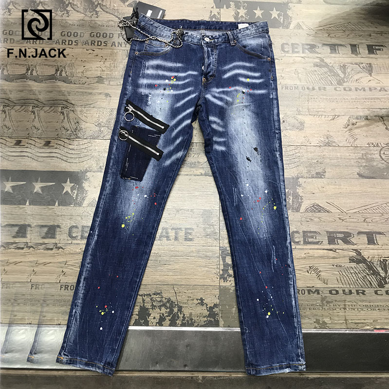 F.N.JACK Jeans Men Ripped  Skinny Pants for Man Slim Straight Denim Zipper Calca Masculina Man Jean Pencil Pants Vaqueros Hombre