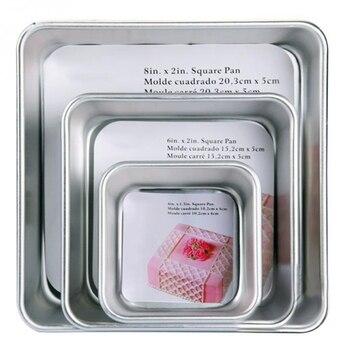 אלומיניום סגסוגת למות כיכר 4/6/8 אינץ עוגת עובש עוגת תבנית אפיית צלחת אפיית עובש פאן תבנית בישול כלי אפיית חלקי