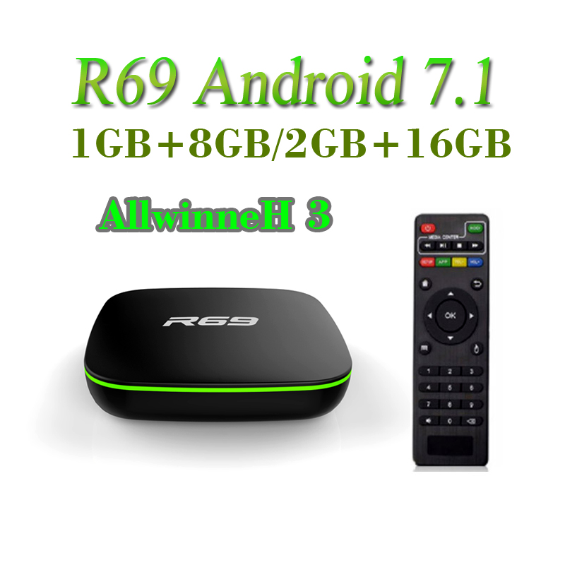 <font><b>Android</b></font> 7.1 R69 <font><b>Smart</b></font> <font><b>TV</b></font> <font><b>Box</b></font> 1GB 8GB Allwinner H3 Quad-Core 2,4G Wifi Media player image