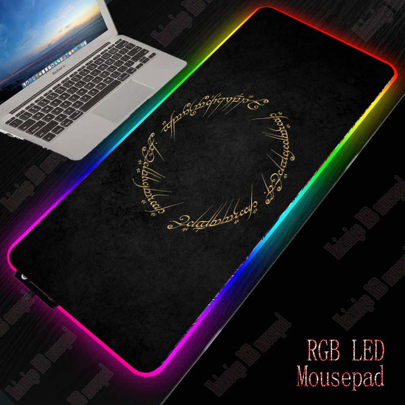 XGZ Lord Of The Rings Logo RGB Gaming MousePad Large Computer Mouse Pad Gamer XXL Mousepad Backlight Mause Pad Keyboard Desk Mat
