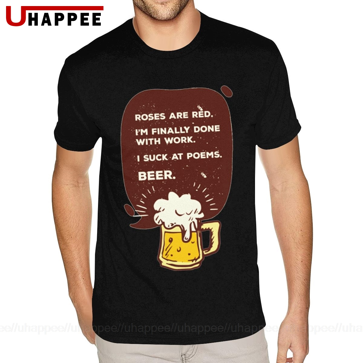 Tall Size Beer Poem T-Shirt for Men Hip Hop Brand Short Sleeve Mens Water Printed Shirt Cheap Discount Merch Apparel image