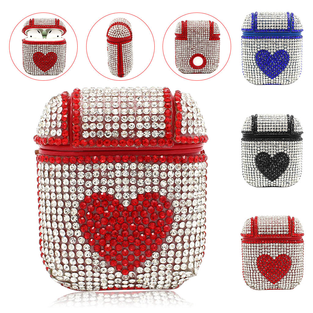 heartshaped Protective Case Cover for Airpods Earphones Bling Luxurious Diamonds heartshaped Protective Case Cover for Airpods