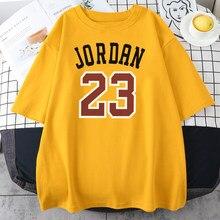 Esportes de rua jordan 23 padrão de marca impressão camisetas masculinas moda oversize camiseta macio solto topos hip hop estilo dos homens t roupas