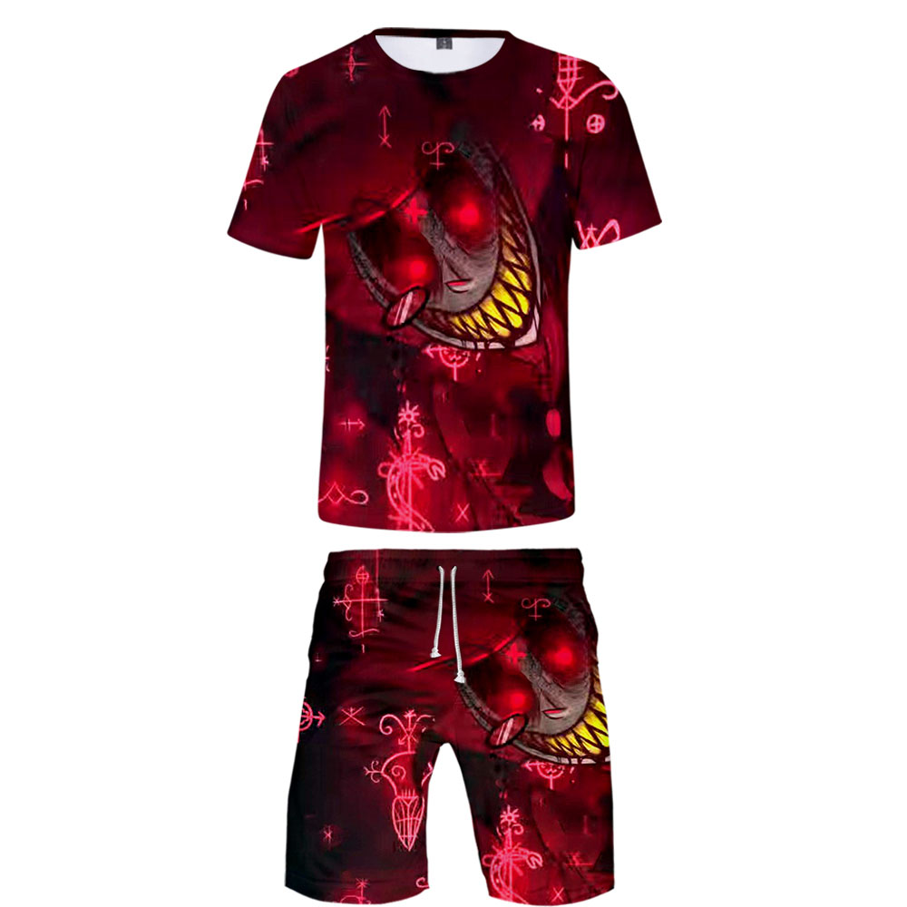 2020 Hell Hotel Two Piece Set Tshirt And Shorts Harajuku Men Hell Hotel T Shirt Streetwear Harajuku Short Sleeve Plus Size