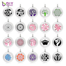 20mm Stainless Steel Mix Style Essential Oil Pendant Necklace Wholesale, Accept customization CA157-208(China)
