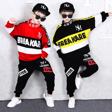 2019 Autumn New Fashion Boys Suit Childrens Hip-hop Clothing Kids Cotton Spell Color Long Sleeve Letters Sweater+Pants