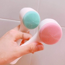 Double Side Silicone Facial Cleanser Wash Brush Soft Mild Fi