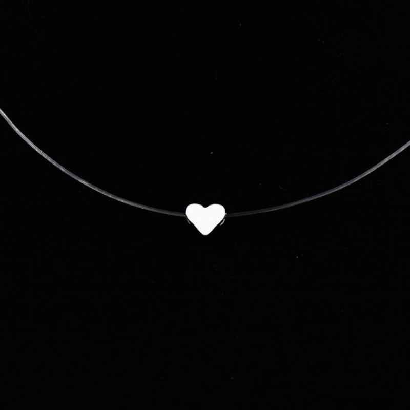แฟชั่นคริสตัลสร้อยคอ Zircon จี้สายที่มองไม่เห็นสุภาพสตรีสร้อยคอเครื่องประดับ Clavicle Chain Choker