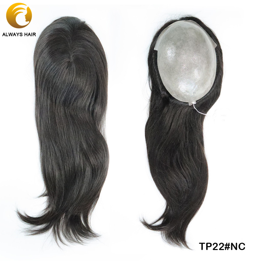 Alwayshair TP22 PU Hair Toppers For Women Chinese Cuticle Remy Hair Polyskin Hair Pieces 130% Density Hair Replacement For Women