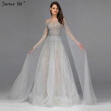 Серебристо-серые Роскошные вечерние платья с длинным рукавом с o-образным вырезом А-силуэта Сексуальные вечерние платья Serene hilm LA60869