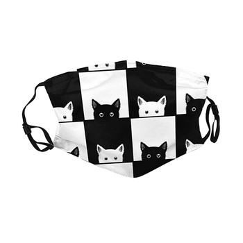 1pcs Mask Black White Cats On Chess Board Design Sports Windproof Men Women Fashion Masks Mascarillas De Tela Earloop Face Cover