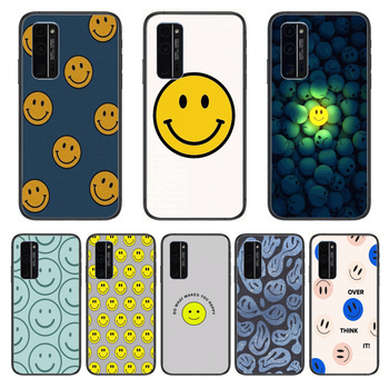 Smile face Fashion Matte Phone Case Hull For Huawei Honor 8 9 10 20 30 A S Lite Pro 5g i Black Back Soft Cell Cover Pretty image