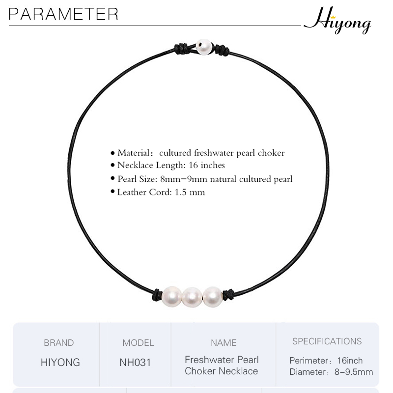 HIYONG Beach 3 Cultured Freshwater Pearls White Choker Necklace on Genuine Leather Cord Knotted Necklace Handmade Jewelry in Choker Necklaces from Jewelry Accessories