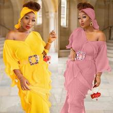 New African Clothing Dashiki Abaya Stylish KWA Fashion Pressure Plait Stretch Loose Long Dress And Scarf  Belt 3Piece Free Size