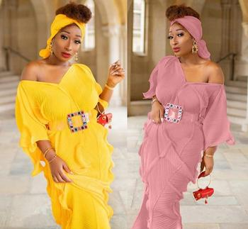 New African clothing Dashiki robes Fashion Pressure plait stretch Loose Long dress and scarf  belt 3pcs free size length 150cm