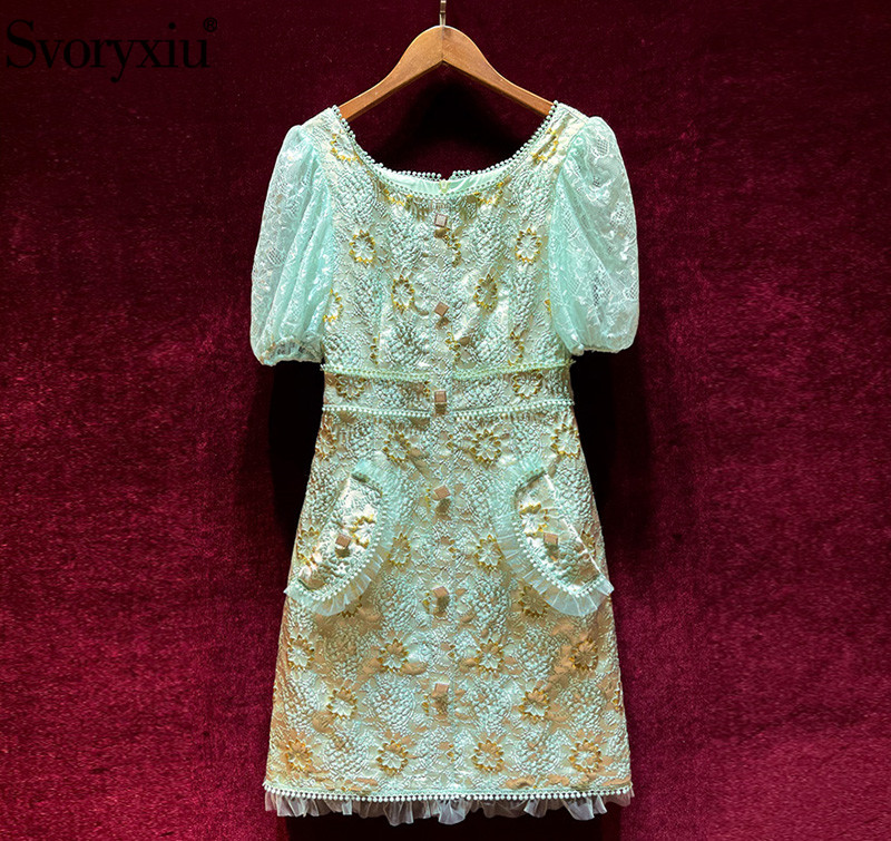 Svoryxiu Designer Fashion Summer Lace Embroidery Short Dress Women's Puff Sleeve Single-Breasted luxury Party Dresses